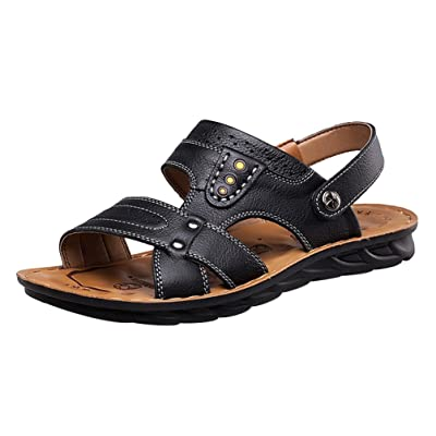 Abby 6166 Mens Leather Leisure Breathable Handsome Athletic Beach Cozy Sandals Mules
