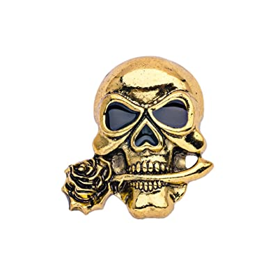 MagiDeal Gothic Punk Skull Brooch Scary Brooch Pin Halloween Jewelry  Vintage Decor - Gold 4f2919909347