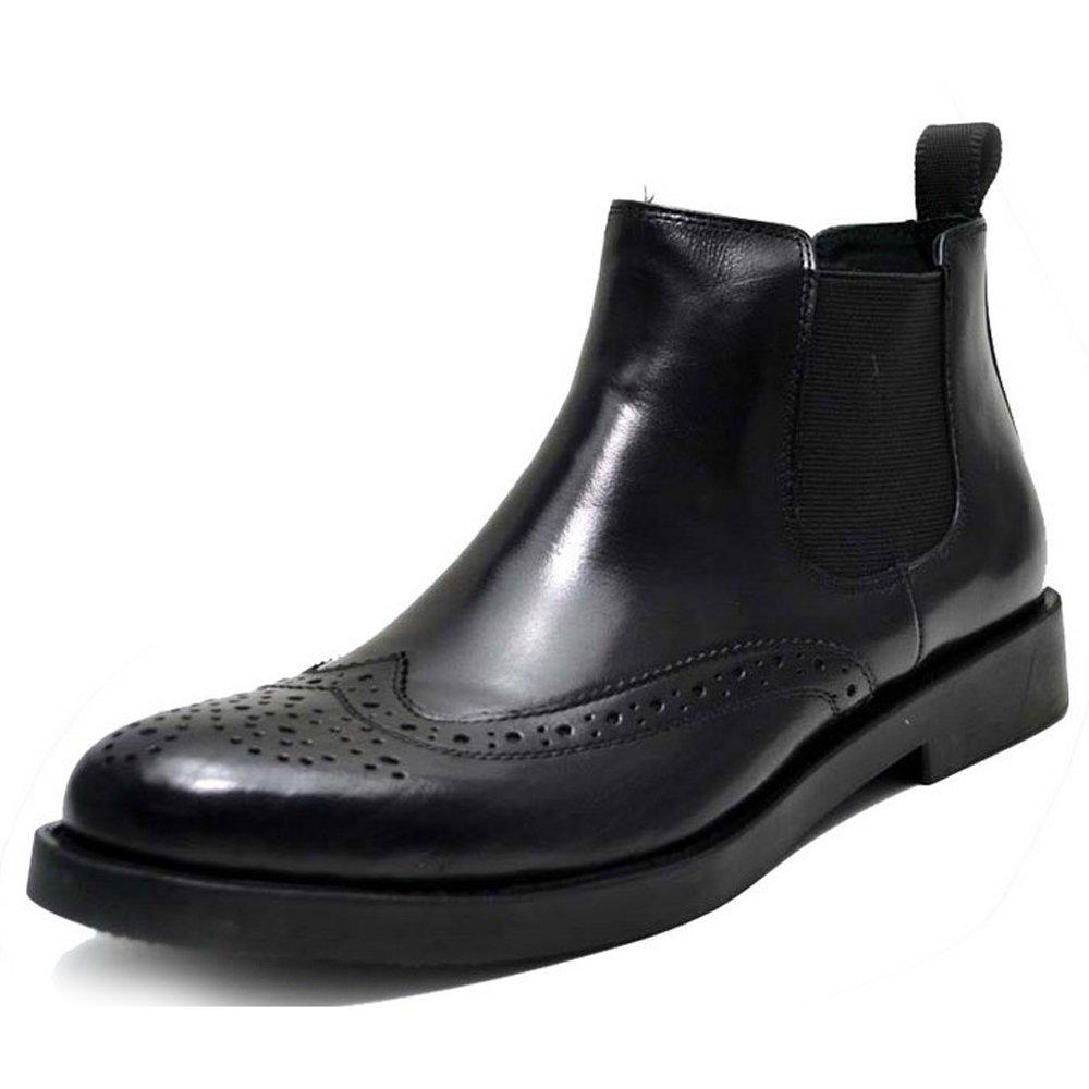 Fulinken Genuine Leather Brogue Wingtip Mens Formal Dress Shoes Business Boots (6, Black)