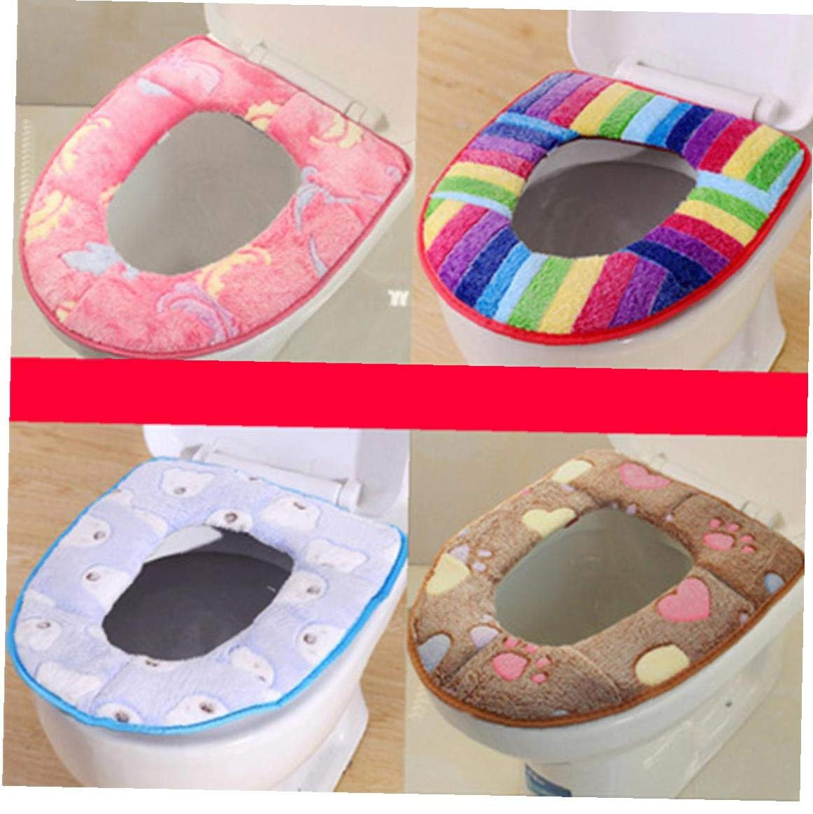 Stili Casuali AMOYER WC Peluche Mat Inverno Addensare Toilet Seat Cover Warmer Accessori Bagno Igienici Cuscino