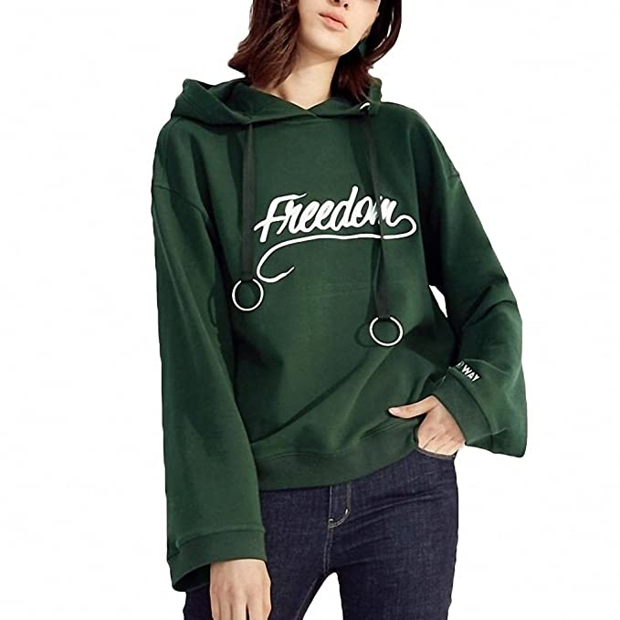 New Hooded Hoodies Loose Letter Embroidered Female Sweatshirts NEW Casual Tracksuits DARK GREEN S