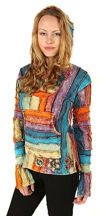 Little Kathmandu D'été Rainbow Capuche Femmes Coton Pull Patchwork Rjq35c4LA