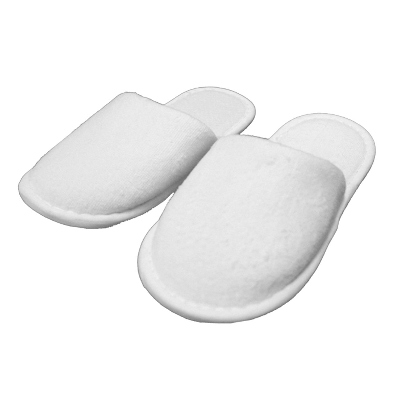 Kid's Closed Toe Slippers Cotton Terry Velour Slippers Cloth Spa Hotel Girls and Boys Slippers Wholesale 100 Pcs (One Size, White)