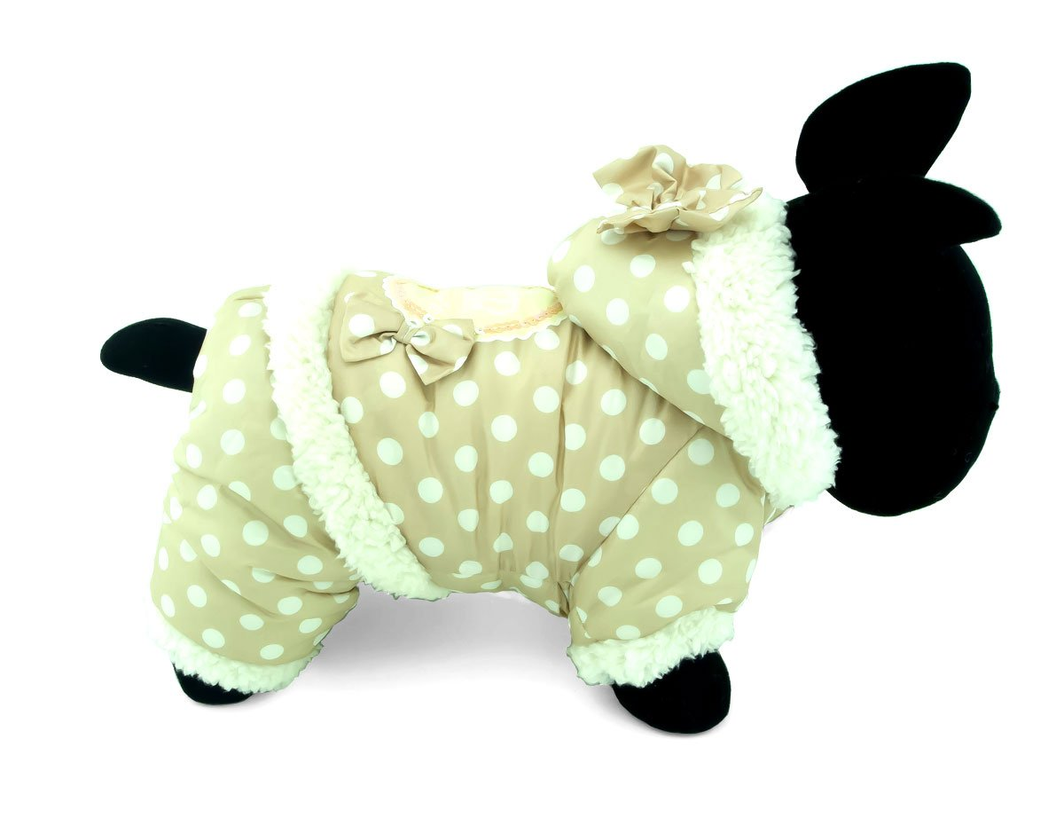 SELMAI Polka Dots Hooded Warm Pet Fleece Jumpsuit Puppy Winter Snowsuit Small Dog Cat Coat Jacket Pjs Outfits Chihuahua Clothes Apparel Pink S