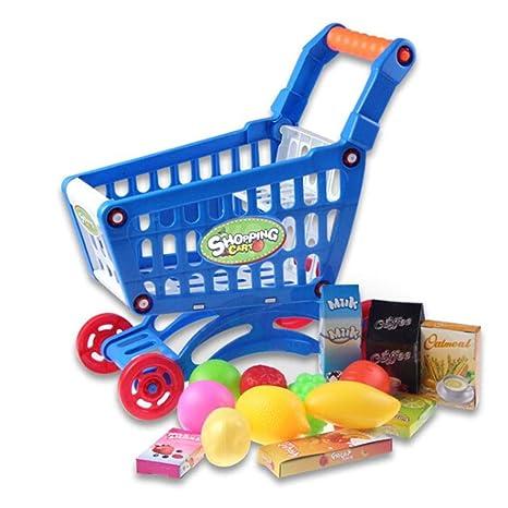 Ncient Mini Carro Supermercado Juguetes Mini Carro Bebe con Frutas y Verduras 27.5x30.5x20cm