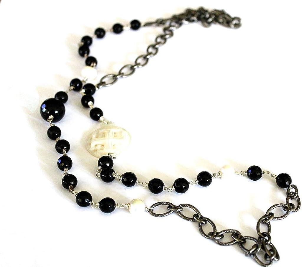 Kokomorocco Collar Mujer Largo ónix y Perlas con medallón de Madreperla Cruz de Jerusalem Cadena eslabones Regalos Originales