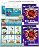 PET SAFETY EMERGENCY Pets Dog Cat Value Bundle 1 Toxic Foods Fridge Magnet, 2 Home Alone Contact Cards w/Pouches & 4 Emergency Fire Alert Sticker Decals (Qty. 1 Pets Variety from TLC)