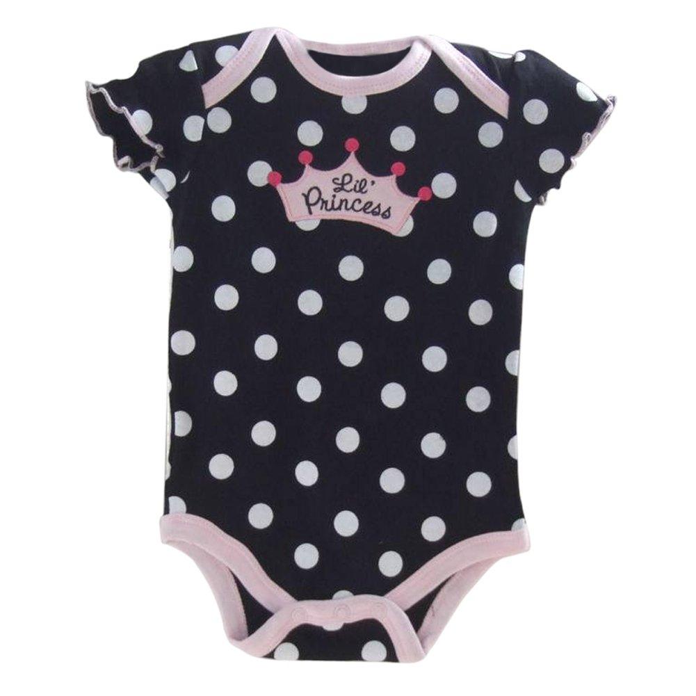 TOOGOO(R) Neonata stabilita dei nuovi vestiti del bambino di modo mette il vestito da estate della primavera del bebe di Romper + Tutu del pannello esterno + Nero con polka dot, 6M 041465F5