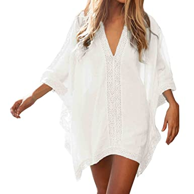 84775d738b Womens Floral Lace Beach Swimsuit Cover up Dress - Sexy Bikini Swim  Coverups - Summer Swimwear Cover ups Deep V Neck (White) at Amazon Women's  Clothing ...