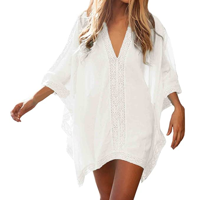 a54619ea321 Womens Floral Lace Beach Swimsuit Cover up Dress - Sexy Bikini Swim Coverups  - Summer Swimwear Cover ups Deep V Neck (White) at Amazon Women s Clothing  ...