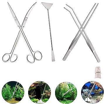 Signstek - Depósito de acero inoxidable Acuario Planta acuática Pinzas tijera espátula juego de herramientas para acuarios y peces Kits: Amazon.es: Hogar