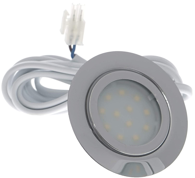 4er Set LED Möbeleinbaustrahler Luisa 12Volt 3Watt inkl. Anschlusskabel mit Stecker Farbe:Chrom [Energieklasse A+] Kamilux