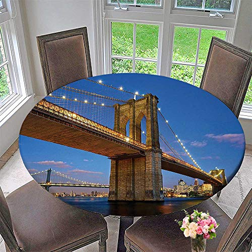 Mikihome Circular Table Cover Collection Brooklyn Bridge at Twilight in New York City East River Modern Metropolis for Wedding/Banquet 35.5