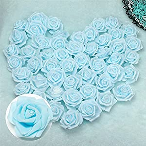 Happyyous 50PCS Artificial Roses Flowers Heads, Fake Foam Roses Heads for DIY Wedding Bouquets Centerpieces Arrangements Party Baby Shower Home Decorations 28