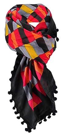31910c8f2d66 dames écharpe rouge orange orange jaune noir avec pompons - taille 100 x  100 cm -