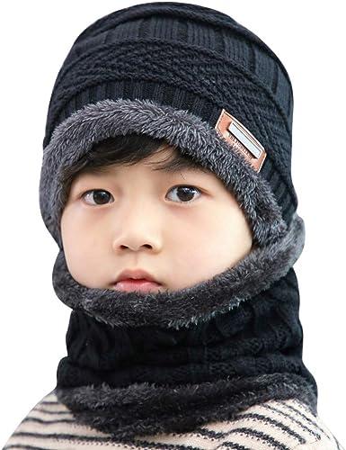 Velvet Plaid Knitted Kids Winter Hat Wool Scarf Mittens Children Clothing Sets