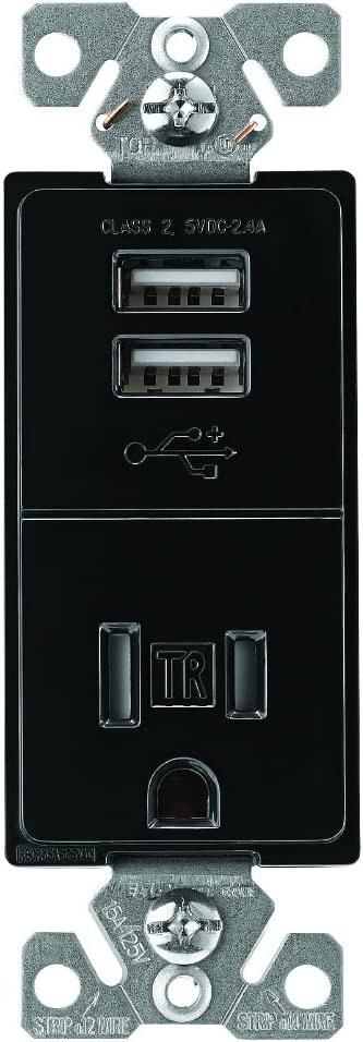 Black EATON TR7741BK-BOX USB Charger with Single Tamper Resistant Receptacle