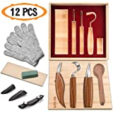 12pcs Wood Carving Tools Set-WAYCOM Hook Carving Knife,Detail Wood Knife,Whittling Knife Cut Resistant Gloves Leather…