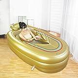Inflatable Bathtub Thicker Adult Tub Tubing Plastic Bath Tub (Gold)
