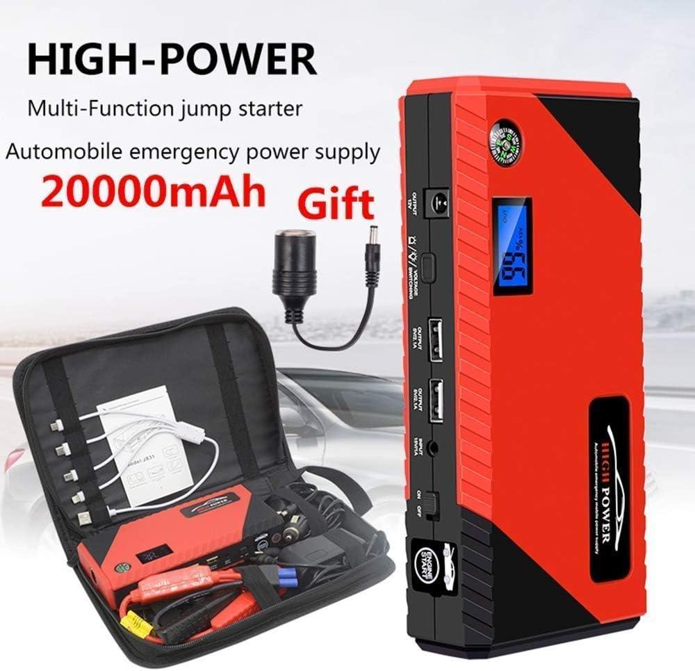 HESHI Autostartkabel Auto Notstartschalter Notfallbatterie Booster Pack mit Doppel-USB-Ladeausgang LED-Taschenlampe und Kompass 1200A 20000mAh