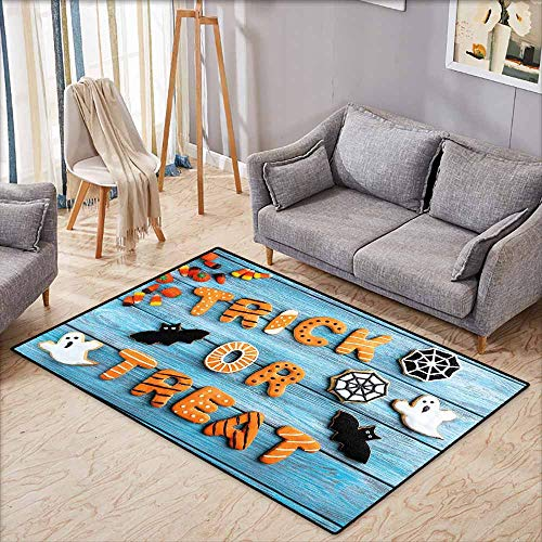 Living Room Rug,Halloween Fresh Trick or Treat Gingerbread Cookies on Blue Wooden Table Spider Web Ghost,Extra Large Rug,4'11