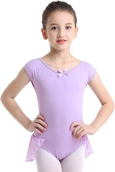 MSemis Kids Girls Cotton Team Basic Gymnastics Ballet Dance Leotard One Piece Short Sleeve Bodysuit