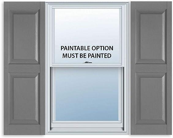 15 Inch x 63 Inch Standard Raised Panel Exterior Vinyl Shutter Pair Paintable
