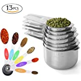 Prodigen Stainless Steel Measuring Cups & Measuring Spoons Set Metal Liquid And Dry Tablespoon Measuring Cups Kitchen Magnetic Measuring Spoons for Baking,Cooking for Food