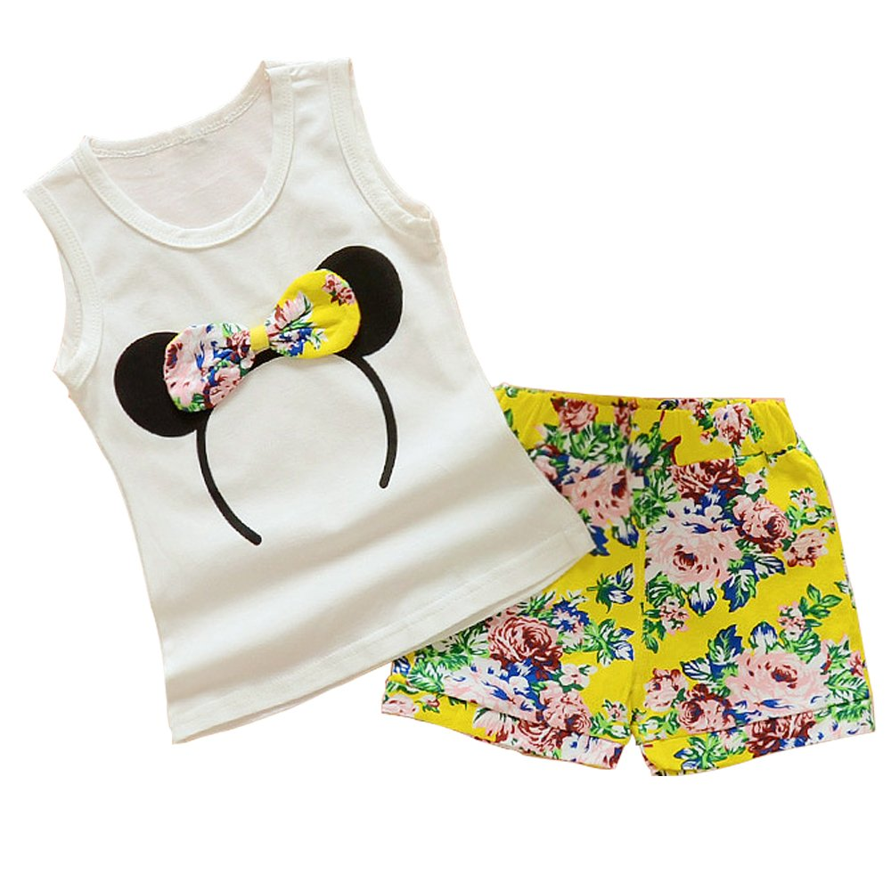 Baby Girl Clothes Outfits Short Sets 2 Pieces with T-Shirt + Short Pants (Yellow, 18-24 Months) by MH-Lucky (Image #1)