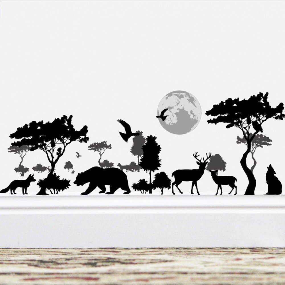 BIBITIME Vinyl Black Silhouette Sticker Forest Big Tree Moon Birds Bear Dog Wolf Elk Deer Wall Decal Borders Wallpaper for Living Room Nursery Decor Children Bedroom Art Murals DIY