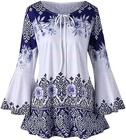 Sweatshirt Dress Women Knee Length Fashion Plus Size Printed Flare Sleeve Tops Blouses Keyhole T-Shirts