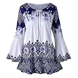 Womens Shirts Plus Size Floral Print Blouse Tops, 3/4 Bell Sleeves Vintage Tunic Drawstring S-5XL (S, Blue)