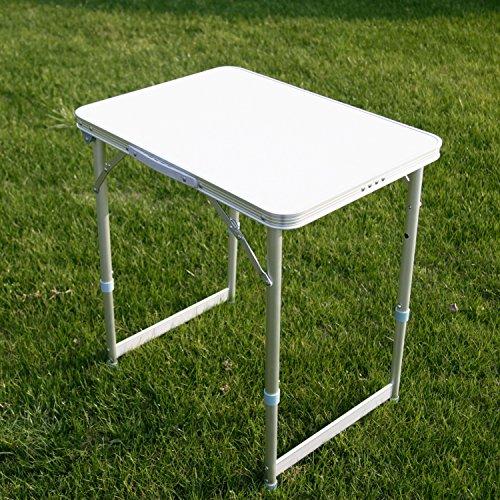 Kinbor Picnic Aluminum Alloy Adjustable Folding Outdoor Camping Table Silver