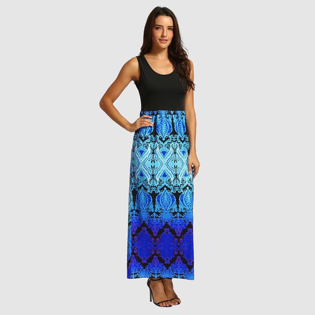 8222defa98d Amazon.com  Joint 2018 Summer Women Bohemia Print Tank Dresses Sleeveless  Casual Summer Long Maxi Dress Party Beach Cocktail Dress (Small