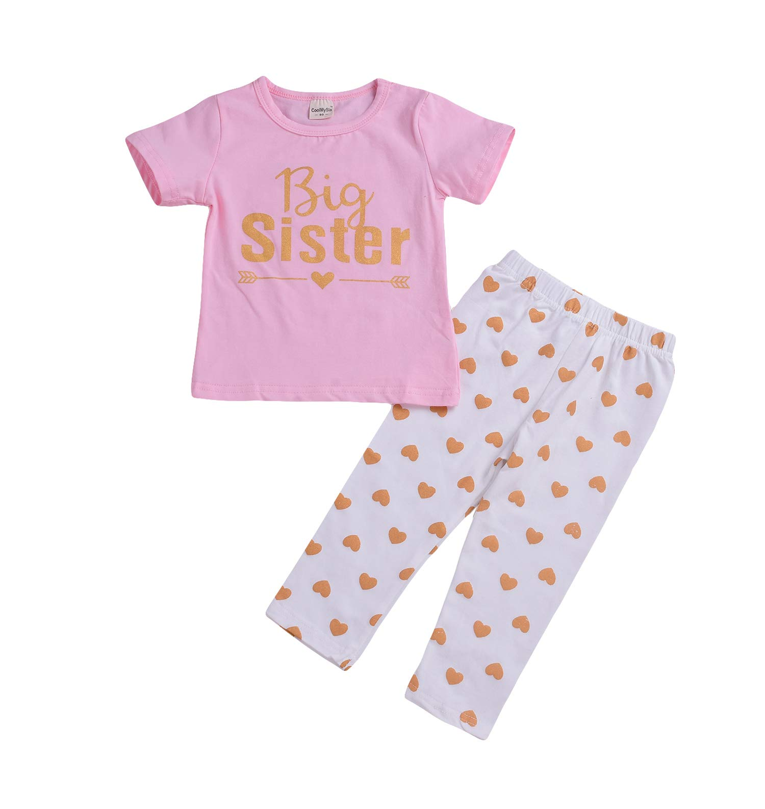 Baby Girls Family Matching Clothing Set Little Big Sister Romper Shirt Tops+Gold Heart Long Pants Outfit Set (Big Sister, 5T-6T)