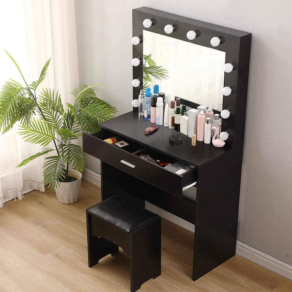 Vanity Sets with Mirror and Bench Black Walnut with 12 LED Lights Vanity Makeup Table with Lighted Mirror Dressing Table with Drawers