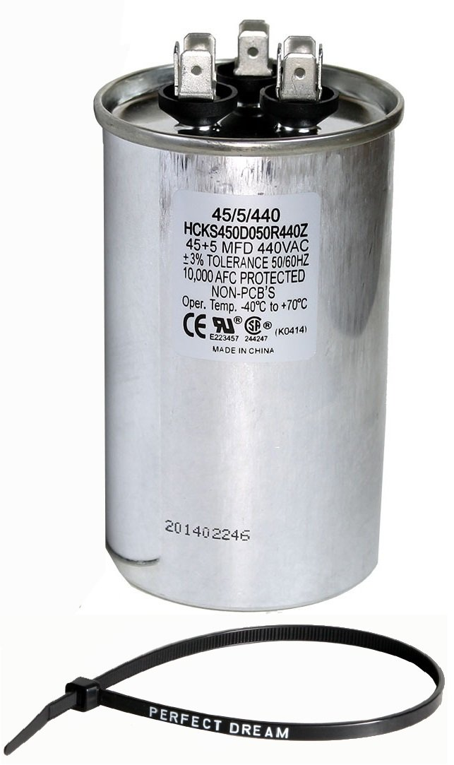 TradePro 45+5 uf MFD 370 or 440 Volt Dual Run Round Capacitor Bundle TP-CAP-45/5/440R Condenser Straight Cool/Heat Pump Air Conditioner and Zip Tie by TradePro (Image #1)