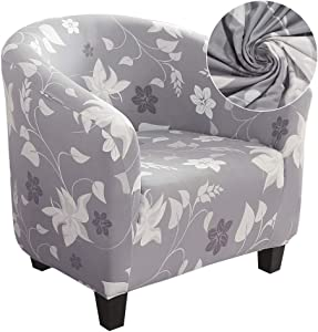 SearchI Club Chair Slipcover, Stretch Spandex Removable Floral Printed Armchair Covers, Sofa Cover Furniture Protector Home Decor for Living Room Arm Chair Cover Couch Covers