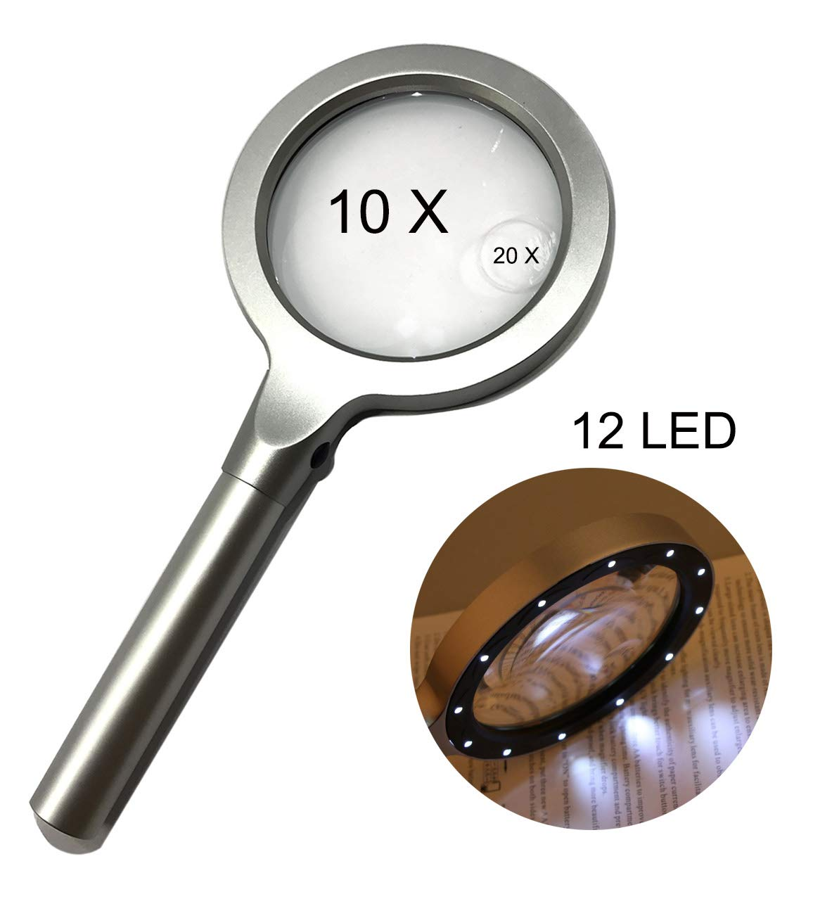 Large LED Handheld Magnifying Glass,10 X 20X Full Metal Lighted Magnifier - Best Size Illuminated Reading Magnifier for Reading,Inspection,Hobbies and Macular Degeneration