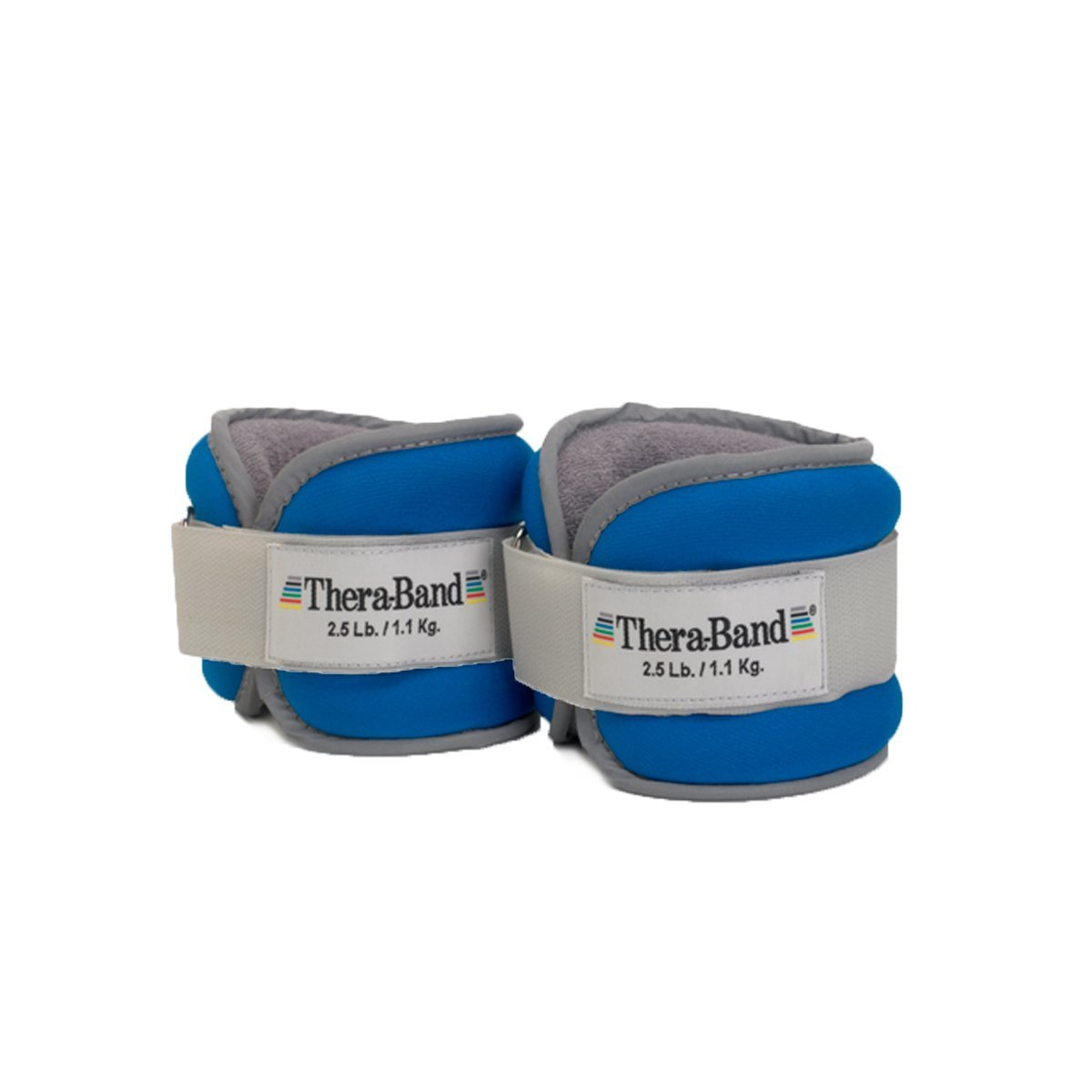 TheraBand Ankle Weights, Comfort Fit Wrist Ankle Cuff Weight Set, Adjustable Walking Weights for Cardio, Home Workout, Ankle Strengthening Physical Therapy, Blue, 2.5 lb. Each, Set of 2, 5 Pounds