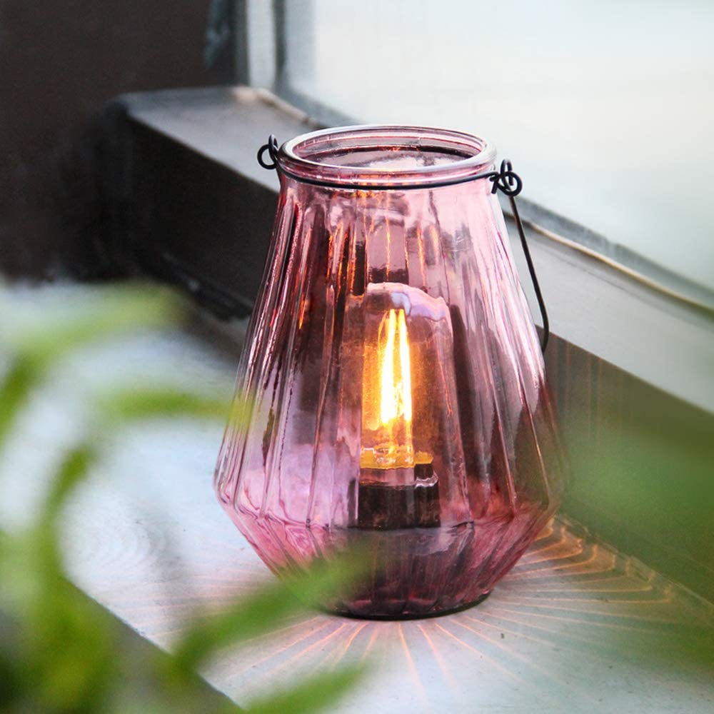 Battery Operated Lamp Hanging,Cordless LED Table Lamp with Timer, Decorative Lantern Lights Outdoor Indoor Decor for Patio/Home/Hallway/Deck/Spareroom/Bedroom/Tabletop/Fireplace/Vintage Style (Blush)