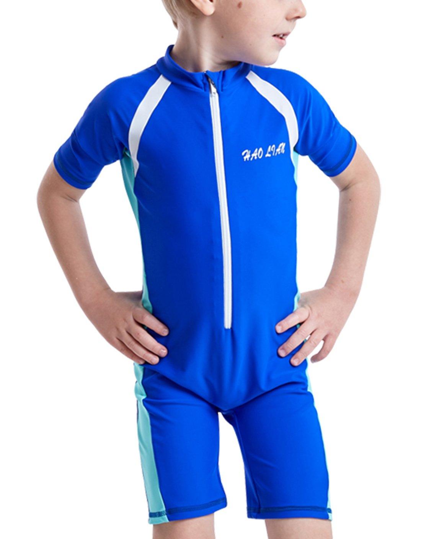 haolian Boys Shorty One Pieceフローティング水着UPF 50 +ラッシュガード水泳コスチュームfor水スポーツ3 – 14歳 B07DB6JV1Z ネイビー M(Height: 105-115cm) M(Height: 105-115cm)|ネイビー