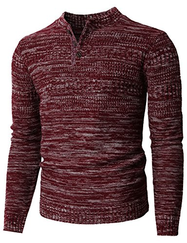(H2H Men's Cashmere Three Button Thermal Henley WINEWHITE US S/Asia M (KMOSWL0127))