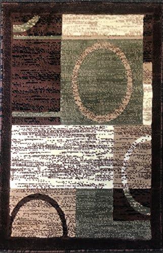 Americana Modern Door Mat Area Rug Brown with Green Design 1497 2ft.X3ft.