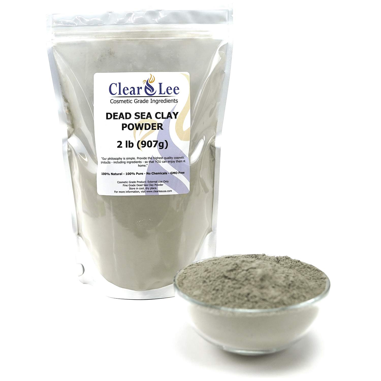 ClearLee Dead Sea Clay Cosmetic Grade Powder - 2 LB 100% Pure Natural Powder - Great For Skin Detox, Rejuvenation, and More - Heal Damaged Skin - DIY Clay Face Mask