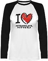 Idakoos - I love Sprinkler Fitters chalk style - Occupations - Women Raglan Long Sleeve T-Shirt