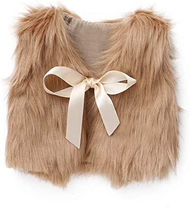 Pure Color Sleeveless Bowknot Ribbon Faux Fur Fall Winter Thick Warm Outwear Vest WARMSHOP Toddler Girls Waistcoat