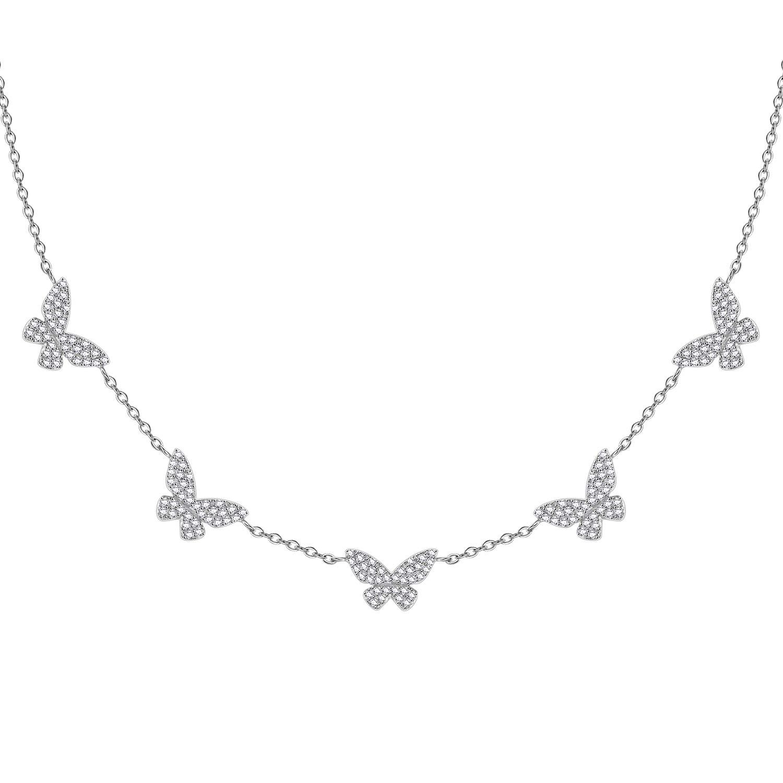 minimalist necklace. Sterling silver 925 necklace cz necklace dainty necklace