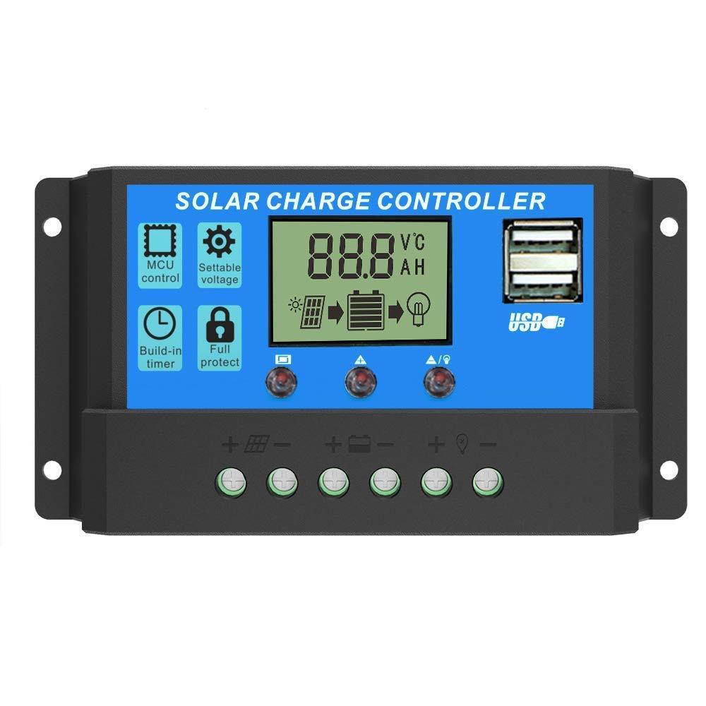Y&H 30A PWM Solar Charge Regulator 12V/24V Solar Charge Controller Battery Voltage Intelligent Regulator USB Port 5V Light Timer Control LCD Display
