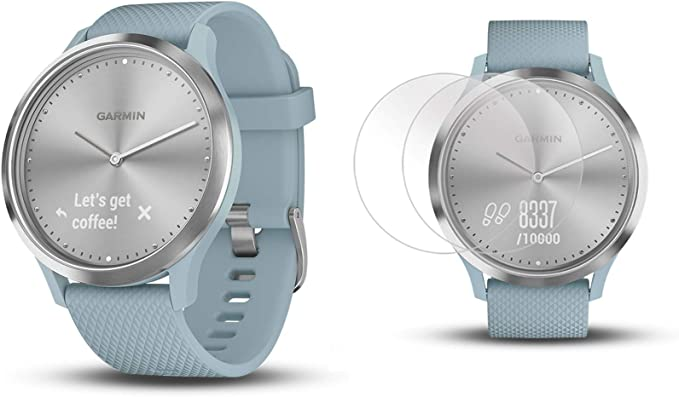 PlayBetter Garmin vivomove HR Sport (Silver with Seafoam Band, S/M) Hybrid Smartwatch | Bundle Includes Pack of HD Screen Protector Film (x4) | ...